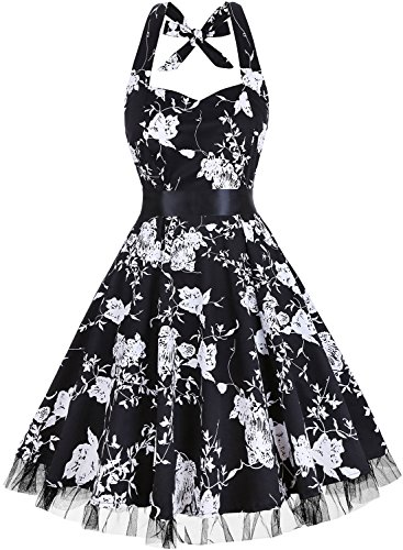 (OTEN Women's Floral Vintage 1950s Halter Rockabilly Gown Cocktail Party Dress, XX-Large, Black+White Floral)