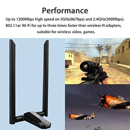 LinkStyle Dual WiFi Adapter Antennas, 802.11ac 5GHz Network Desktop Laptop, Mac OS