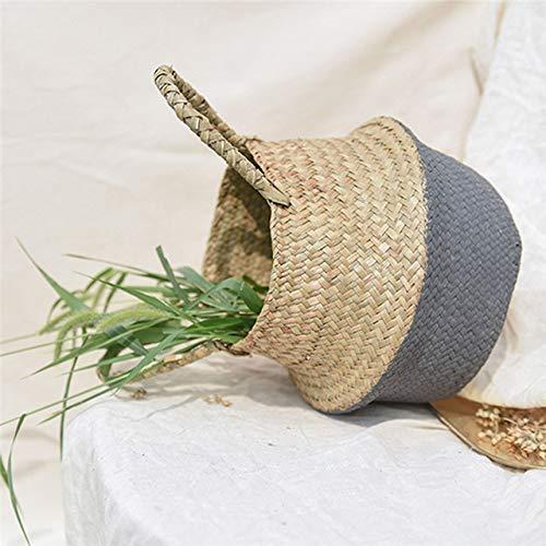 Bag Planter-Seagrass Belly Storage Basket Straw Basket Write Wicker Basket Storage Bag White Garden Flower Pot Planter Handmade Decoration10
