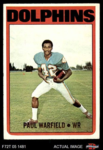 1972 Topps # 167 Paul Warfield Miami Dolphins (Football Card) Dean's Cards 5 - EX Dolphins