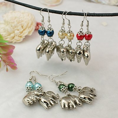 Glass Bead Fish Hook Earrings - 4