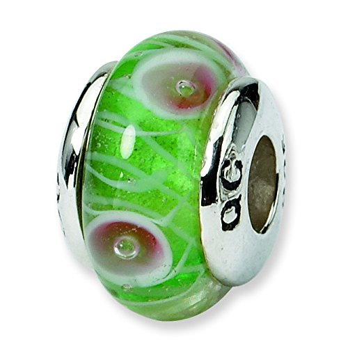 Ster. réflexions Kids-Argent-Perle en verre de Murano-Vert-JewelryWeb