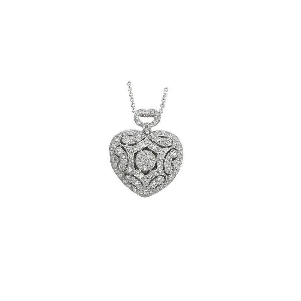 14K White Gold Heart Shape Diamond Locket 7/8 Inch x 7/8 Inch White Gold w / engraving