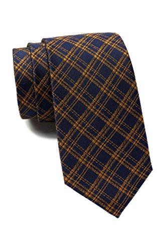 Ben Sherman Warner Plaid Silk Tie (Navy/Yellow)