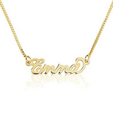 ed19b18ec Amazon.com: Personalized Necklaces Tiny Gold Name Necklace 18k Gold over  925 Sterling Silver - Carrie Necklace (14 Inches): Jewelry