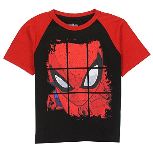 Spiderman Marvel Little Boys Raglan Tee, Black/Red