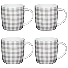 Kitchencraft de Fine Gingham Classic Patterned barril tazas, 425 ml-grey/blanco (Set de 4), Bone China, gris/blanco, 8,9 x 12,4 x 9 cm