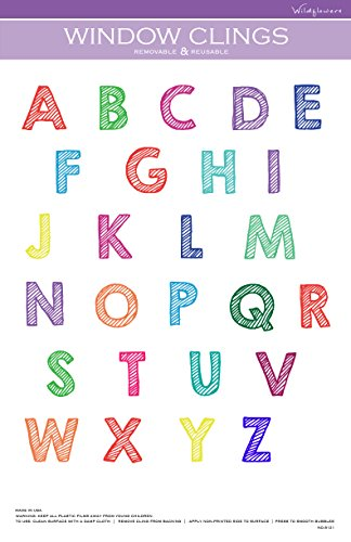 Alphabet Striped Design (Capital Letters) Window Cling (Letter Striped Pink)