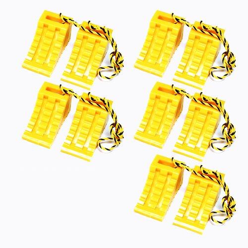 ホップ タイヤ歯止め タイヤストッパー ダブル (2個組の1.2Mロープ付き) 黄色 5セット B01MD2KMZK 13703