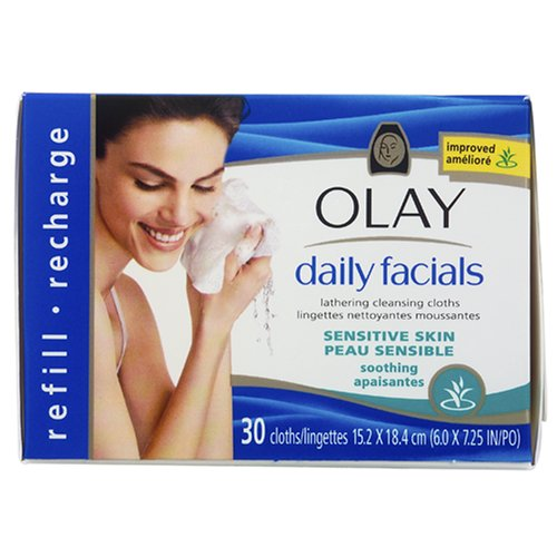 Olay Daily Facials Lingettes nettoyantes moussantes, apaisante, 30 ct