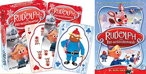 Animagic Land of Misfit Toys Christmas Favorite Rankin/Bass Rudolph the Red-Nosed Reindeer Animated DVD + Playing Cards Theme Deck Holiday Bag Bundle