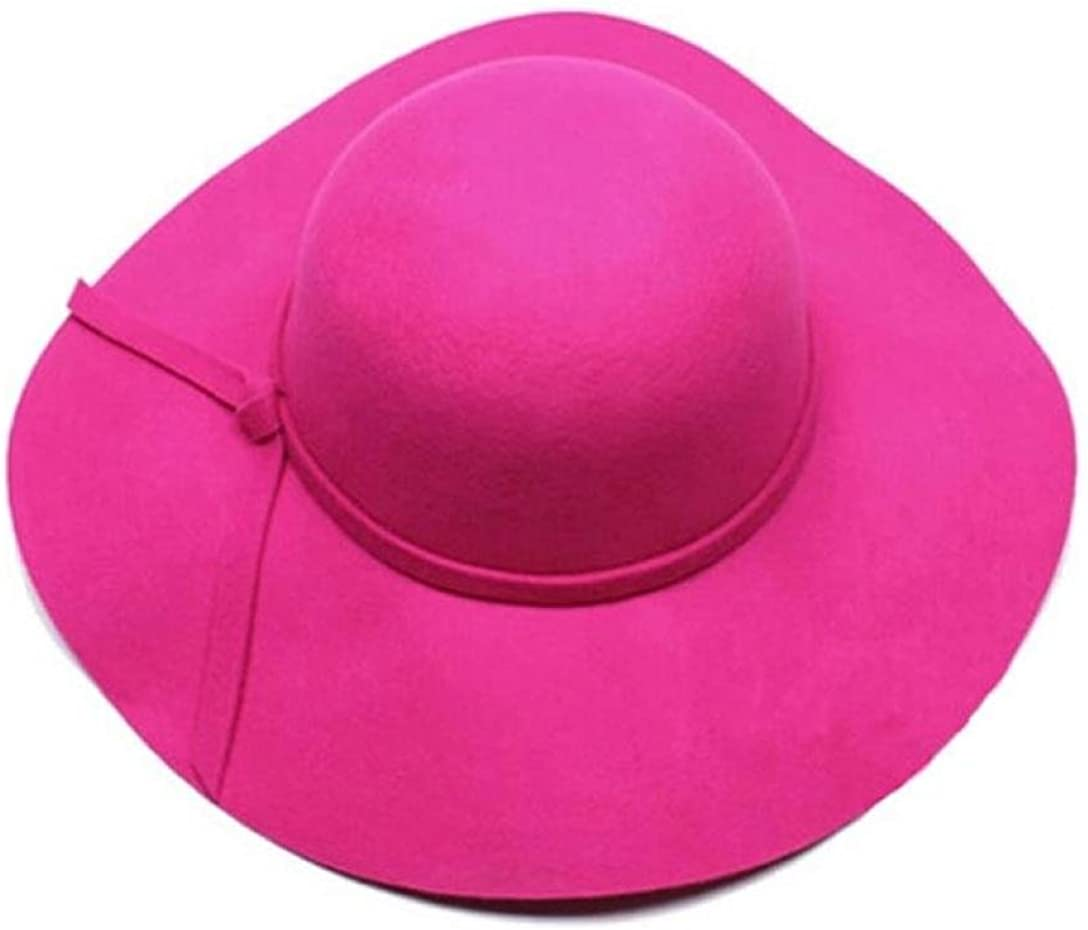 Anboo Women Wool Wide Brim Felt Bowler Fedora Hat Floppy Cloche