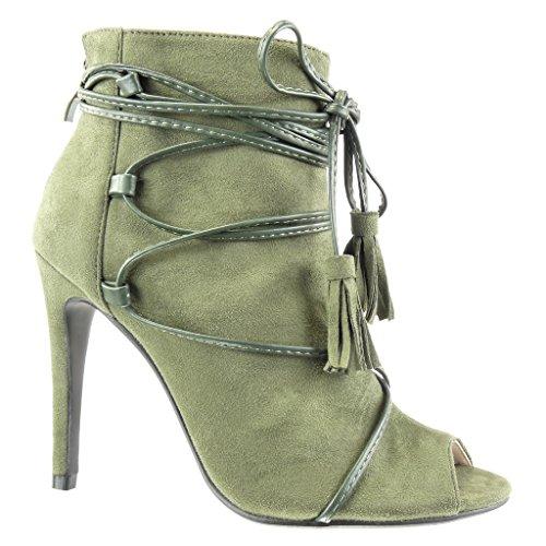 Grüne Damen 5 High Stiefeletten Angkorly Cm Sexy Heel Sandalen Spitze Stiletto Schuhe Franse Bommel Offen 10 ZqxOd