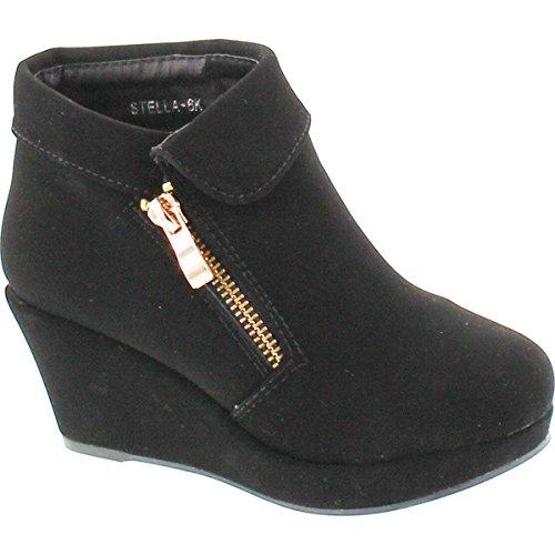 BESTON Lucky Top Stella-6K Children Girl's Platform Wedge Heel Fold Over Ankle Booties,Black,2