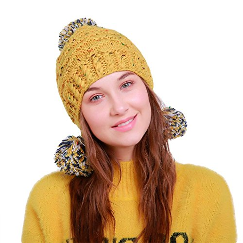 (Women Knit Hat, Elogoog Warm Peruvian Beanie Wool Winter Ski Hat Cap with Earflap Pom (Yellow))