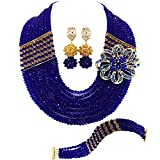 aczuv 10 Rows African Beads Jewelry Set for Women Nigerian Wedding Bridal Jewelry Sets (Royal Blue and Champagne Gold)