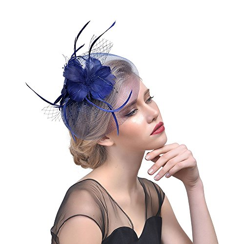 Women Flower Mesh Ribbons Feathers Headband Cocktail Tea Party Hat Headwear Fascinator Hat On Sale YOcheerful]()