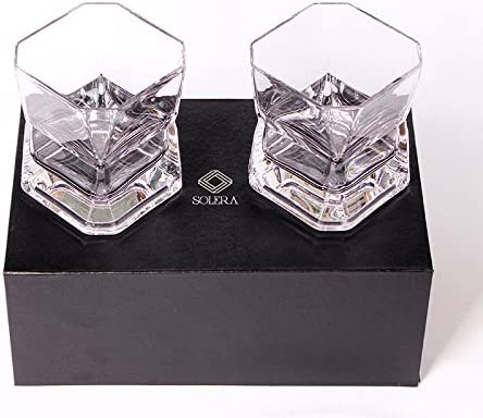 Set of Two Lead-Free Crystal Glasses SoleraNew Fashioned Whiskey Glasses 10 oz