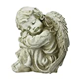 9.5″ Heavenly Gardens Distressed Ivory Resting Cherub Angel Outdoor Patio Garden Statue For Sale