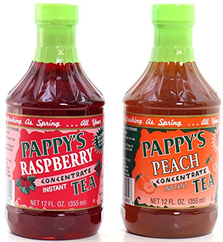 Pappy's Tea Concentrate Assortment,(2 Pack) Peach & Raspberry, Natural - No Sugar Added -
