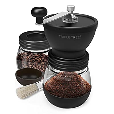 Manual Coffee Grinder with Ceramic Burrs, Hand Coffee Mill with Two Glass Jars(11oz each), Brush and 2 Tablespoon Scoop from TRIPLE TREE BRANDING LLC