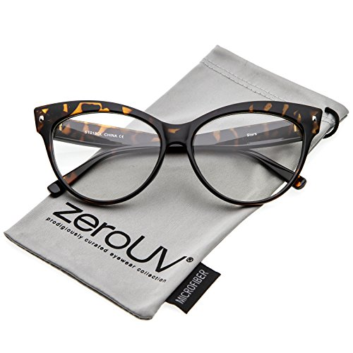 zeroUV - Women's Oversize Wide Arms Clear Lens Cat Eye Eyeglasses 58mm (Tortoise / - Stylish Eyeglasses Women For