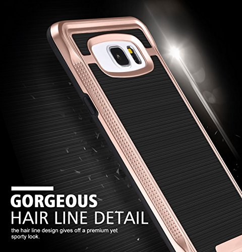 Galaxy Note 5 Case, Ansiwee Shockproof Phone Cover, Galaxy Note 5 Cover, Soft TPU Bumper Hard PC Case Brushed PC Texture Protective Armor for Samsung Galaxy Note 5 (Rose Gold)