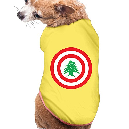 (Puppy Pet Dog Cat Fashion 100% Polyester Fiber Funny Cute Lebanon Circle Summer Costumes, Clothing, Shirt, Vest, T-shirt, Tee Gift For Any Animal Fan Lovers Yellow Small)