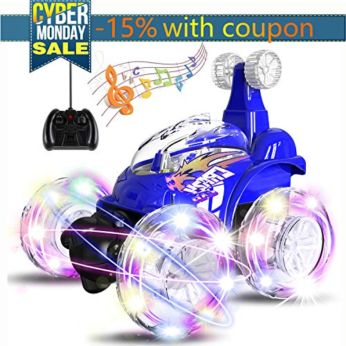 UTTORA Remote Control Car, RC Stunt Car Invincible Tornado Twister Remote Control Rechargeable Vehicle with Colorful Lights & Music Switch for Kids