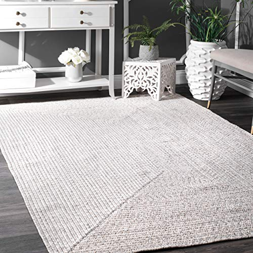 - nuLOOM Braided Lefebvre Indoor/Outdoor Rug, 4' x 6', Ivory