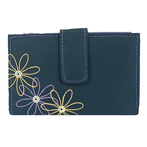 Travelon Safe Id Daisy Tri-fold Wallet, Navy