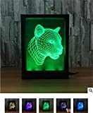 L&T STAR Leopard Head Photo Frame 3D Lights Colorful Remote Control LED Visual Light Gift Small Table Lamp