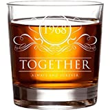 1968 Together Always and Forever Whiskey Glass, 50th Anniversary Gift for Husband & Wife, 11 oz Whisky Glasses, Gift Ideas for Mom, Dad, Grandpa - Scotch, Bourbon, Rum w/Rocks or Stones