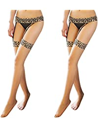 Garter Belts Stockings Set for Women, Leopard Sheer Lace Top(2 Pair)