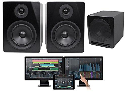 Package: Presonus Studio One 3.2 Professional Audio MIDI Recording DAW Full Software With iPad Integration + Studio Monitor Speakers in Black + Cable + Active Studio Subwoofer in (Monitor Audio Studio Speakers)
