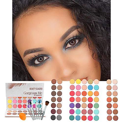 Beauty Glazed 63 Pop Colors Eyeshadow Palettes Matte and Shimmer Blendable Eye Shadow Powder Make Up Waterproof Eye Shadow Palette with Make Up Brushes Set and Powder Sponge Blender