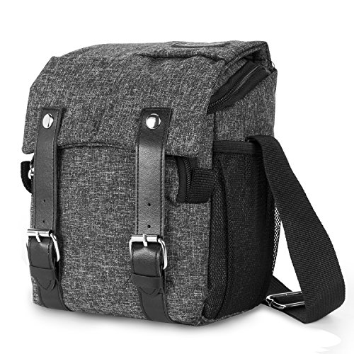 Amzbag Camera Bag DSLR Camera Messenger Bag Case With Shoulder Strap Carrying Shoulder Bag for Four Third, Hybrid, and High Zoom, Mirrorless Camera and Instax Instant Camera (Black)