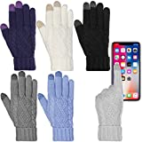 #8: DG Hill Warm Texting Gloves For Women, Cable Knit Touchscreen Winter Text Gloves Cute & Cozy Fleece Lining