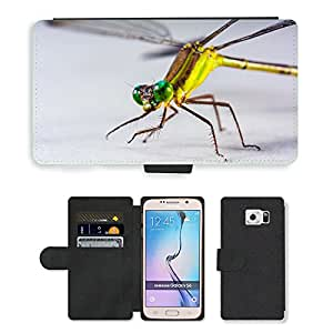 GoGoMobile Flip PU Leather Wallet Case with Credit Card Slots // M00117734 Dragonfly Insect Close Eye // Samsung Galaxy S6 (Not Fits S6 EDGE)