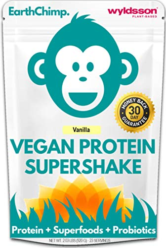 EarthChimp Plant Based Vegan Protein Powder (2lb) with Superfoods, Probiotics & Organic Fruit & Veg | No Added Sugar, Gluten Free, Gum Free (Vanilla)