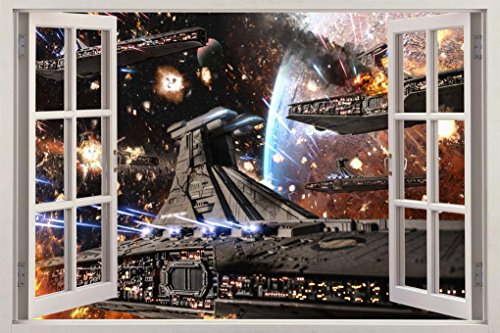Star Wars Clone Wars Ship Battle 3D Window Decal Wall Sticker Art Mural J696, Giant