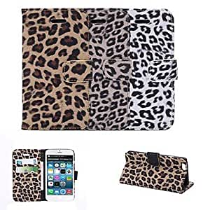 Mini - Leopard Print Design PU Full Body Case with Card Slot for iPhone 6 , Color-White
