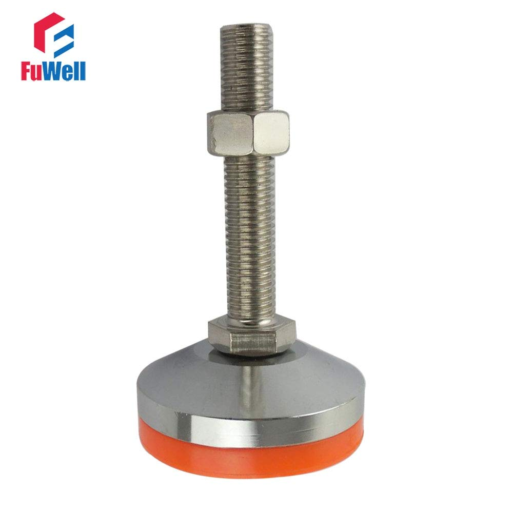 Gimax M12//M16//M18//M20 Thread Adjustable Foot Cup 60mm Diameter Chrome Plated 80//100//120//150mm Thread Length Articulated Leveling Foot Size: 60xM16x100mm