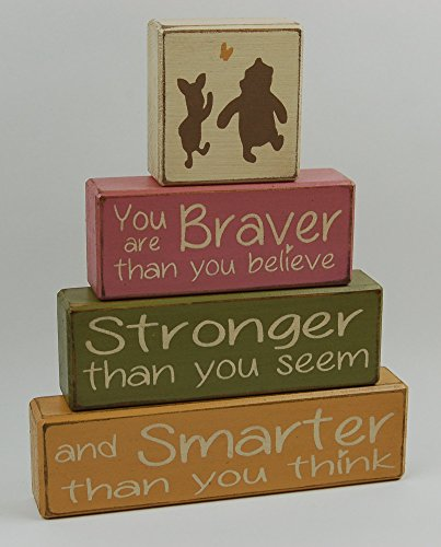 Primitive Country Wood Stacking Sign Blocks-Winnie The Pooh Classic-You Are Braver Than YOu Believe-Stronger Than You Seem-Smarter Than You think-Nursery Room-Baby Shower Gift-Girls