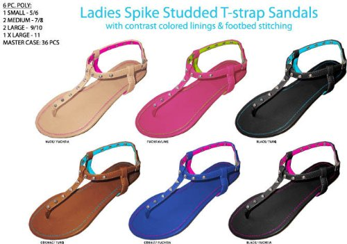 Ladies' Spike Studded T-Strap Sandals [36 Pieces] *** Product Description: Women'S T-Strap Sandal With Contrast Colored Linings And Footbed Stitching. Assorted Colors: Nude/Fuchsia, Fuchsia/Lime, Black/Turquoise, Cognac/Turquoise, Cobalt/Fuchsia ***
