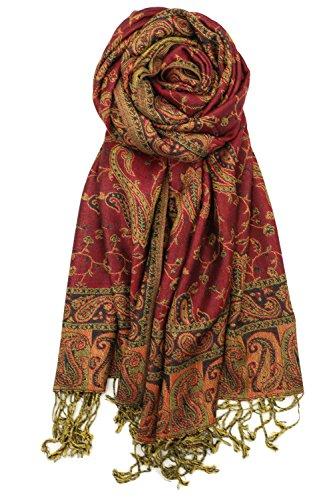 - Achillea Soft Silky Reversible Paisley Pashmina Shawl Wrap Scarf w/Fringes (Burgundy)