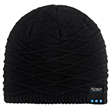 Rotibox Washable Winter Mens Womens Hat Strip Bluetooth Beanie Running Cap w/ Wireless Headphones Mic Hands Free Rechargeable Battery for Cell Phones, iPhone, iPad, Android, Laptops, Tablets