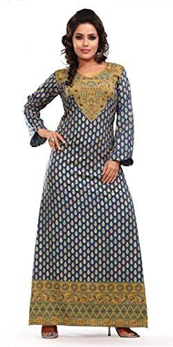 Trendy Gorgeous Blue Long Sleeve Printed Kaftan Abaya Large (42)