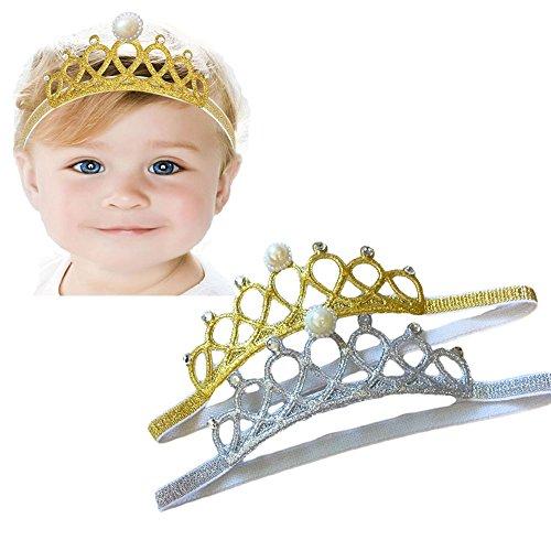 Infant Pink Princess Crown Hat (Xinshi Baby Rhinestone Crown Headbands Toddler Princess Hair Band (Gold and silver))