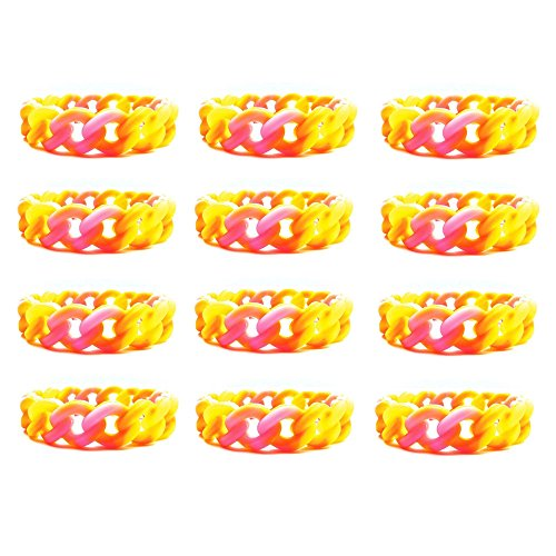 Frogsac 12 Pieces Silicone Chain Bracelets - 3/4'' - Great Party Favors